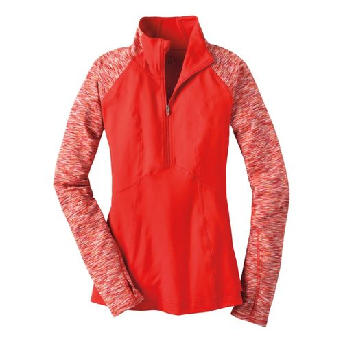 Womens Moving Comfort Foxie Long Sleeve 1/2 Zip Technical Tops - Red Hot L