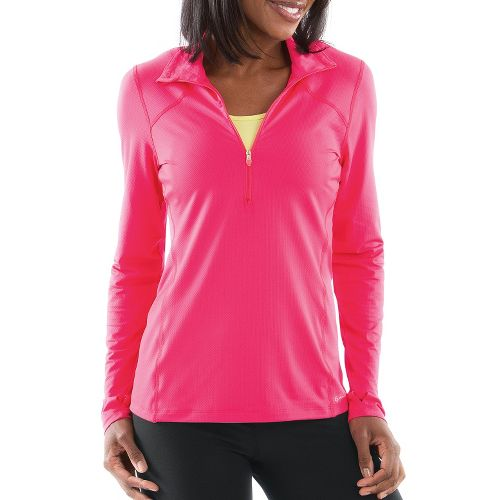 Womens Moving Comfort Dash Long Sleeve 1/2 Zip Technical Tops - Pink Shock L