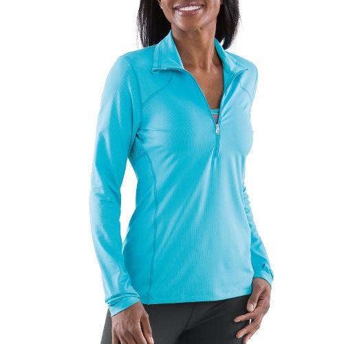 Womens Moving Comfort Dash Long Sleeve 1/2 Zip Technical Tops - Stardust 1X