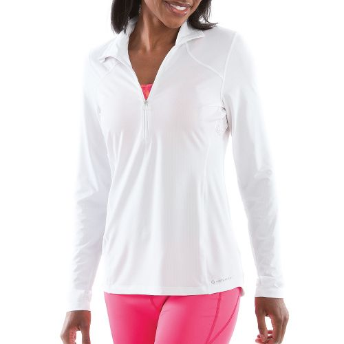 Womens Moving Comfort Dash Long Sleeve 1/2 Zip Technical Tops - White XS