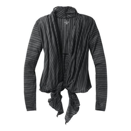Womens Moving Comfort Flaunt It Wrap Long Sleeve No Zip Technical Tops - Black L ...