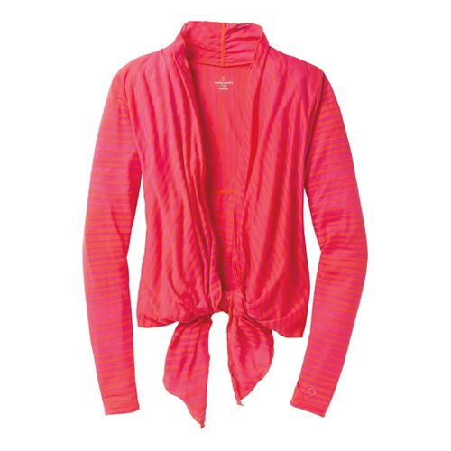 Womens Moving Comfort Flaunt It Wrap Long Sleeve No Zip Technical Tops - Flame L ...