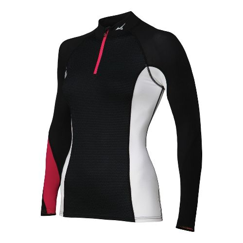 Womens Mizuno Breath Thermo Dynamotion Long Sleeve 1/2 Zip Technical Tops - Black/Red L