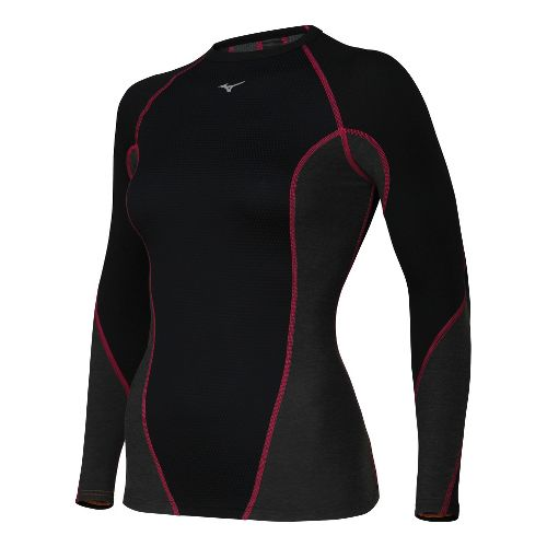 Womens Mizuno Breath Thermo Stretch Crew Long Sleeve No Zip Technical Tops - Black/Red L ...