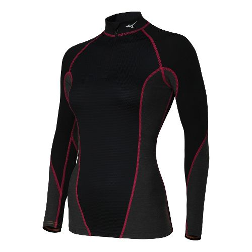 Womens Mizuno Breath Thermo Stretch Long Sleeve 1/2 Zip Technical Tops - Black/Red S