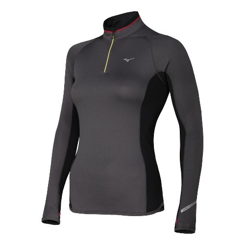 Womens Mizuno Breath Thermo Long Sleeve 1/2 Zip Technical Tops - Dark Grey M