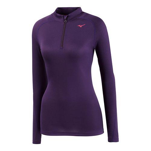 Womens Mizuno BT Base Layer 1/2 Zip Long Sleeve Technical Tops - Purple XL
