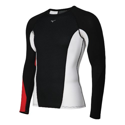 Mens Mizuno Breath Thermo Dynamotion Crew Long Sleeve No Zip Technical Tops - Black/Red S ...