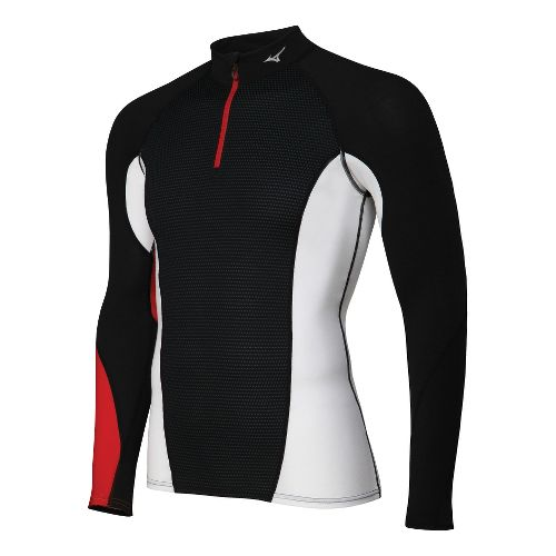 Mens Mizuno Breath Thermo Dynamotion Long Sleeve 1/2 Zip Technical Tops - Black/Red L