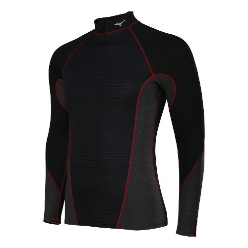 Mens Mizuno Breath Thermo Stretch Long Sleeve 1/2 Zip Technical Tops - Black/Red L