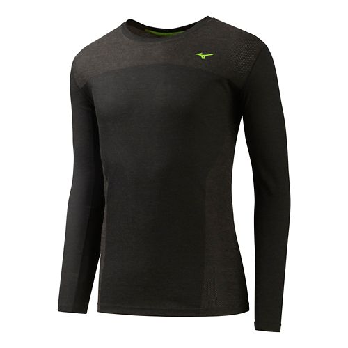 Mens Mizuno BT Body Mapping Long Sleeve Tee No Zip Technical Tops - Black S ...