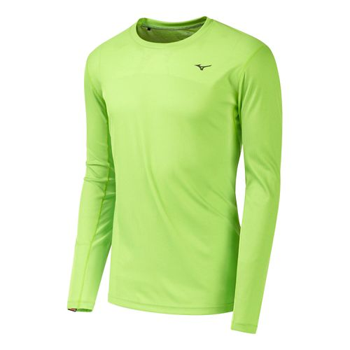 Mens Mizuno BT Body Mapping Long Sleeve Tee No Zip Technical Tops - Green Flash ...