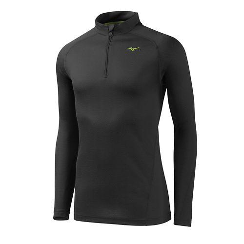 Mens Mizuno BT Base Layer Long Sleeve 1/2 Zip Technical Tops - Black S