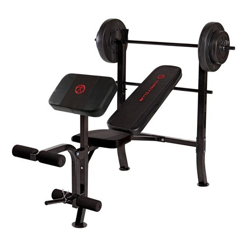 Marcy OPP Standard Bench with 80 lb Weight Set Fitness Equipment - Black