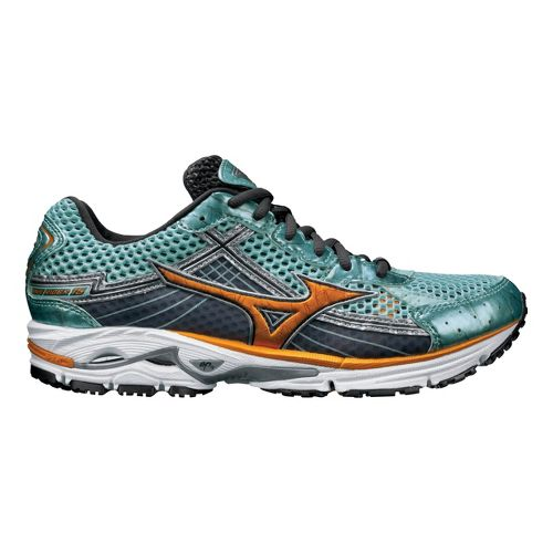 Womens Mizuno Wave Rider 15 Running Shoe - Aqua/Orange 10