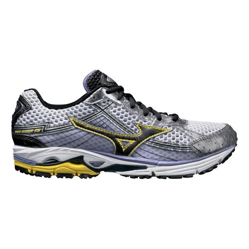 Womens Mizuno Wave Rider 15 Running Shoe - White/Yellow 8.5