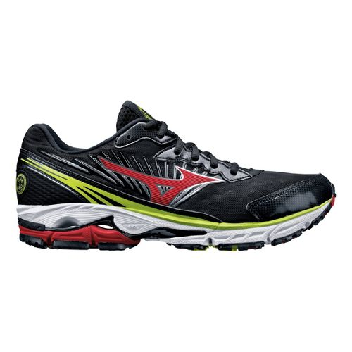 Mens Mizuno Wave Rider 16 Running Shoe - Black/Red 10.5