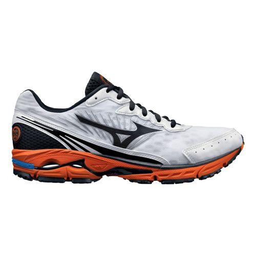 Mens Mizuno Wave Rider 16 Running Shoe - White/Orange 10.5