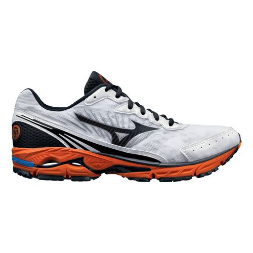 Mens Mizuno Wave Rider 16 Running Shoe - White/Orange 11.5
