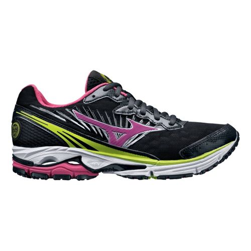 Womens Mizuno Wave Rider 16 Running Shoe - Black/Pink 8.5