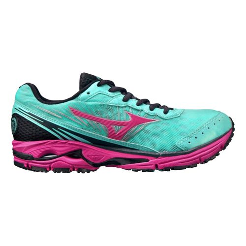Womens Mizuno Wave Rider 16 Running Shoe - Blue/Pink 10
