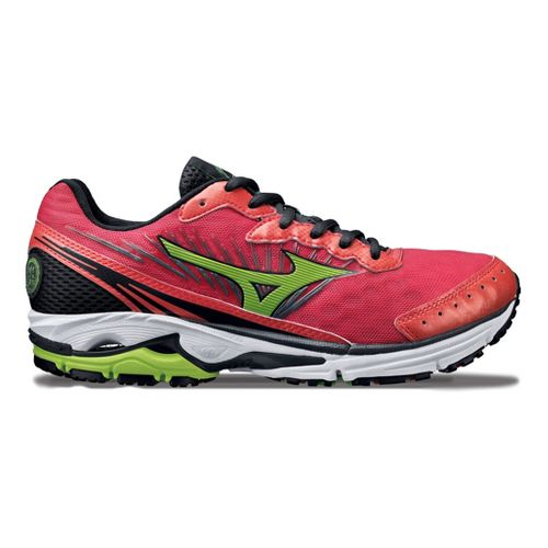Womens Mizuno Wave Rider 16 Running Shoe - Pink/Green 8.5