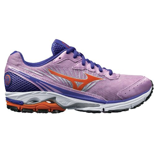 Womens Mizuno Wave Rider 16 Running Shoe - Purple/Orange 7.5
