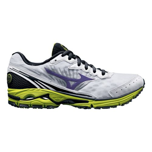 Womens Mizuno Wave Rider 16 Running Shoe - White/Lime 6