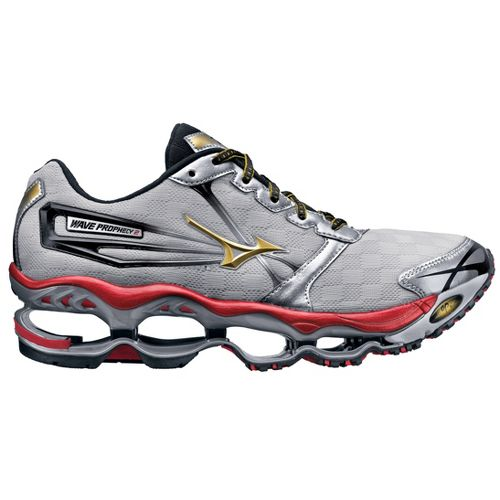 Mens Mizuno Wave Prophecy 2 Running Shoe - Silver/Red 8.5