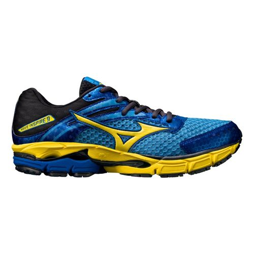 Mens Mizuno Wave Inspire 9 Running Shoe - Blue/Yellow 10.5