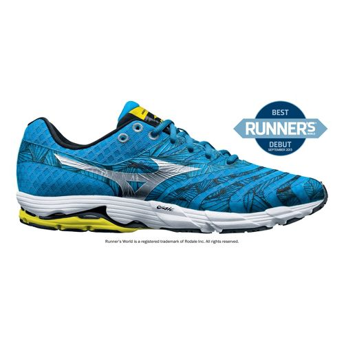 Mens Mizuno Wave Sayonara Running Shoe - Blue/Yellow 12.5