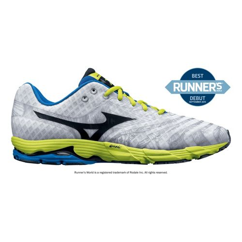 Mens Mizuno Wave Sayonara Running Shoe - White/Lime 10.5