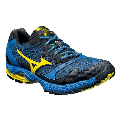 Mens Mizuno Wave Ascend 8 Trail Running Shoe - Black/Blue 10.5