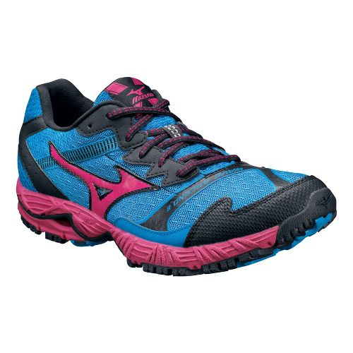 Womens Mizuno Wave Ascend 8 Trail Running Shoe - Blue/Pink 7.5