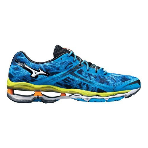 Mens Mizuno Wave Creation 15 Running Shoe - Blue/Lime 8.5