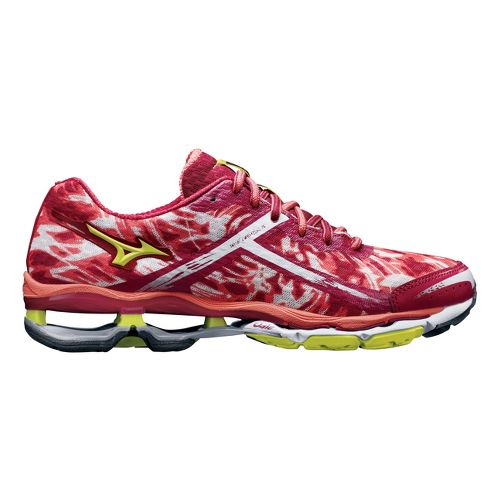 Womens Mizuno Wave Creation 15 Running Shoe - Pink/Lime 7