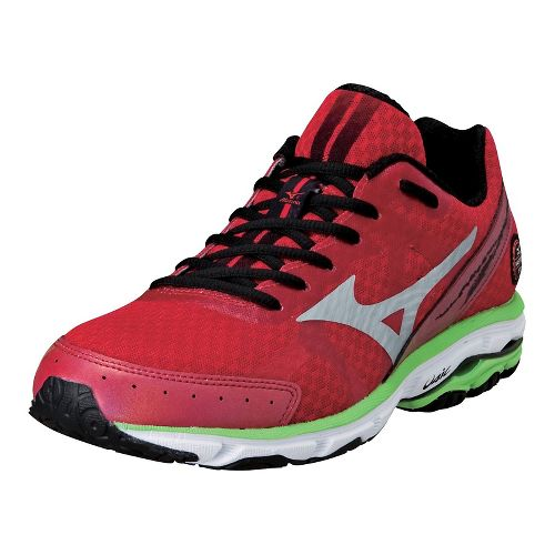 Mens Mizuno Wave Rider 17 Running Shoe - Barbados Cherry/Silver 10.5