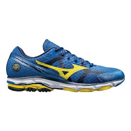 Mens Mizuno Wave Rider 17 Running Shoe - Blue/Yellow 7.5