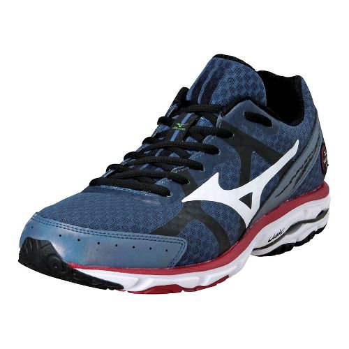 Mens Mizuno Wave Rider 17 Running Shoe - Navy/Red 11.5