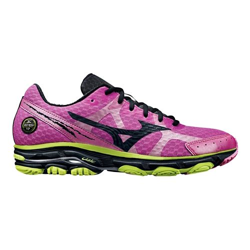 Mens Mizuno Wave Rider 17 Running Shoe - Pink/Lime 8