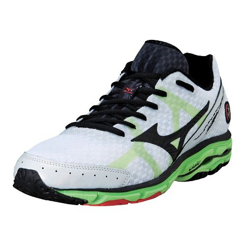 Mens Mizuno Wave Rider 17 Running Shoe - White/Green 9.5