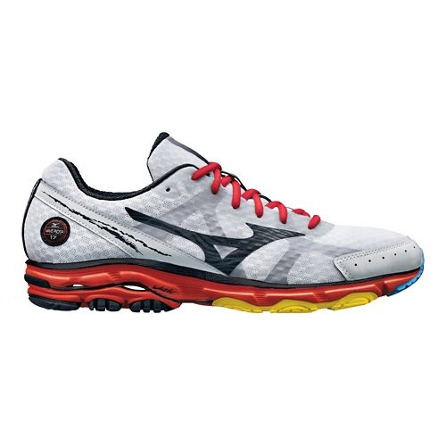 Mens Mizuno Wave Rider 17 Running Shoe - White/Red 10.5