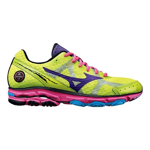 Womens Mizuno Wave Rider 17 Running Shoe - Lime/Pink 7.5