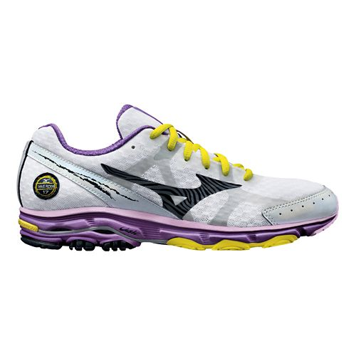 Womens Mizuno Wave Rider 17 Running Shoe - White/Purple 10.5