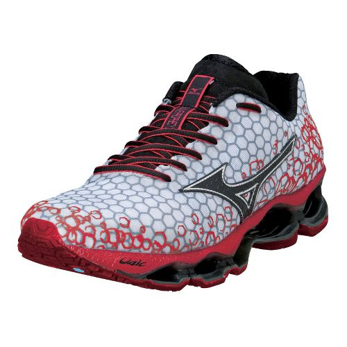 Mens Mizuno Wave Prophecy 3 Running Shoe - White/Red 11.5