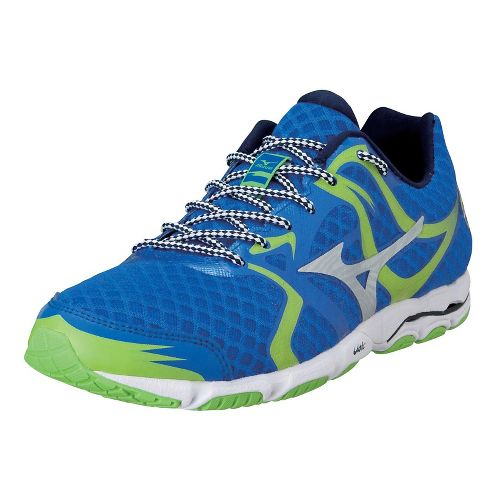 Mens Mizuno Wave Hitogami Running Shoe - Blue/Green 11.5