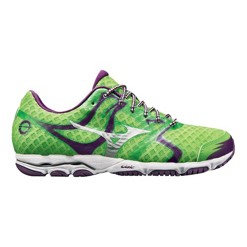 Womens Mizuno Wave Hitogami Running Shoe - Green/Purple 6.5