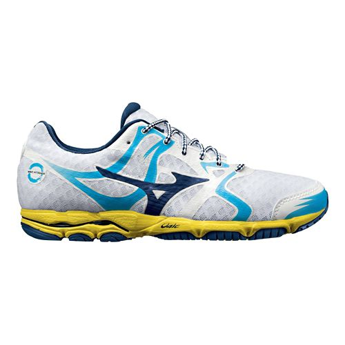 Womens Mizuno Wave Hitogami Running Shoe - White/Blue 10.5