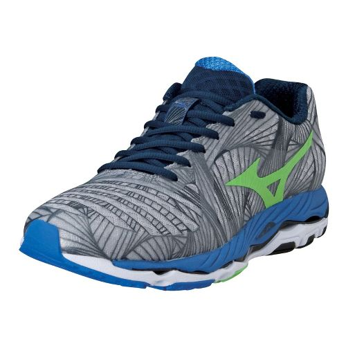 Mens Mizuno Wave Paradox Running Shoe - Alloy/Green Flash 10.5