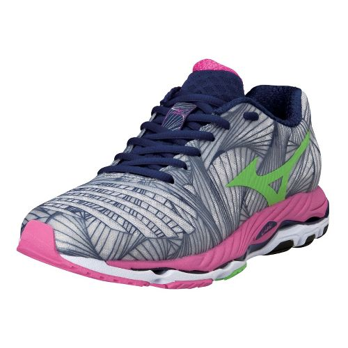 Womens Mizuno Wave Paradox Running Shoe - Micro Chip/Green Flash 10.5